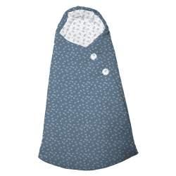Saco capazo capucha micro pana castañas azul