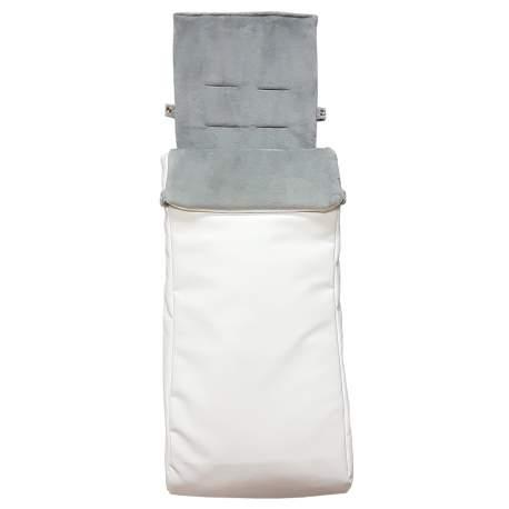Saco Twin silla gemelar polipiel lisa crudo. Funda e interior del saco en pelo gris