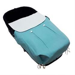 Colcha de capazo tejido muselina azul con botones y plumeti crudo.