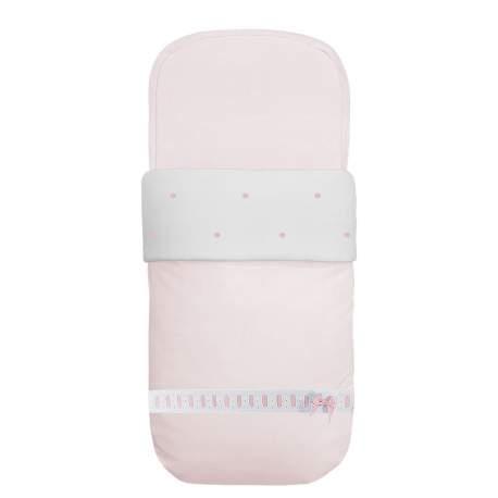 Saco de capazo napoles rosa con entredos y bodoques.