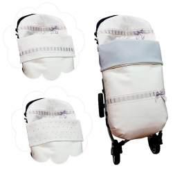 Saco universal babero postizo en piqué crudo con entredos ancho y bordado de estrellitas