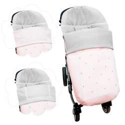 Saco universal babero postizo en piqué rosa con entredos ochos y bodoques