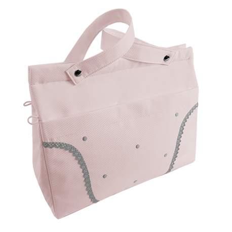 Panera lencera piqué rosa con puntilla y bodoques en gris