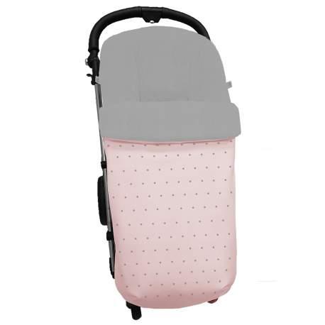 Saco universal piqué rosa con bordado de estrellitas gris