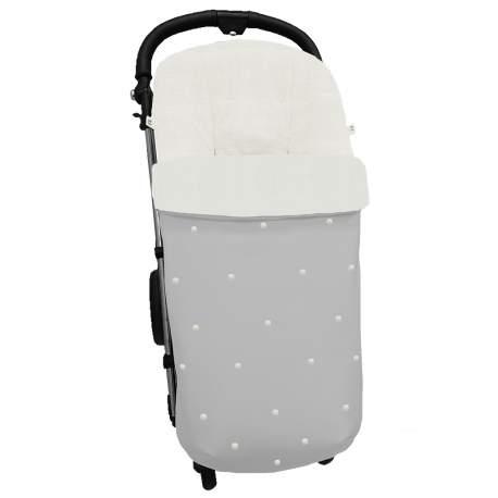 Saco universal en polipiel gris con bordado de bodoques al color de la funda
