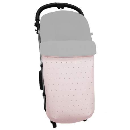 Saco polipiel rosa con bordado de topitos en gris.