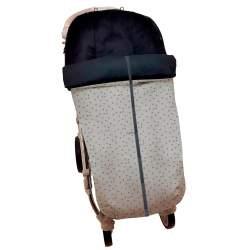 Saco con cremallera central en polipiel plata estampada estrellita. Funda e interior en pelo negro