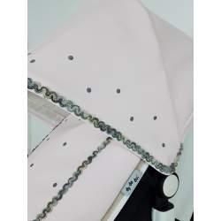 Capota polipiel gris y piqué blanco con ochos oscuros