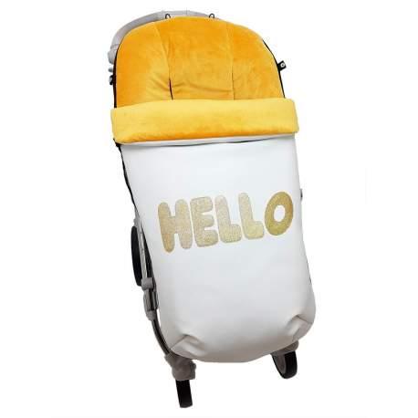 Saco polipiel con aplicación Hello oro funda pelo o punto