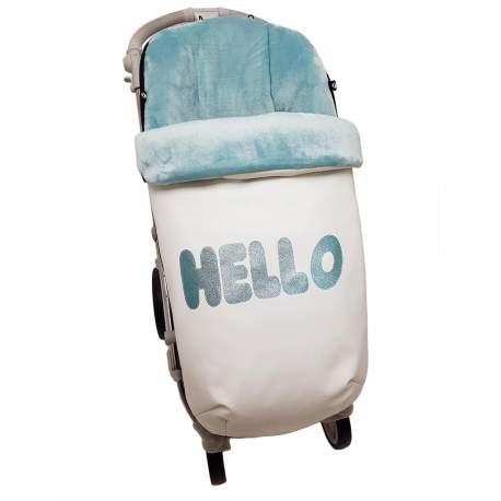 Saco polipiel con aplicación Hello mint funda pelo o punto