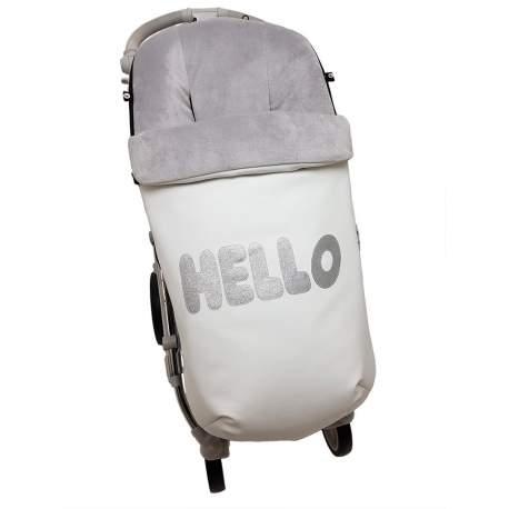 Saco Polipiel con aplicación Hello plata funda e interior en pelo