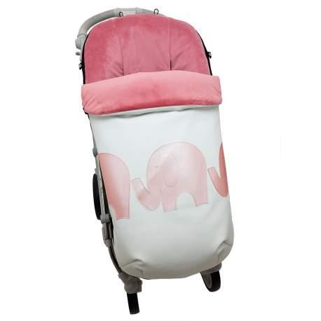 Saco polipiel con aplicación Elefantes rosa funda pelo o punto
