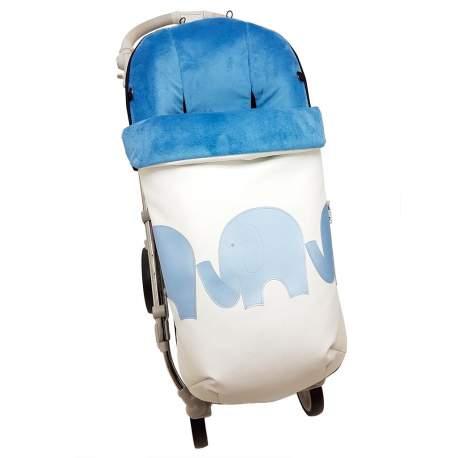 Saco Polipiel con aplicación Elefantes azul funda pelo o punto
