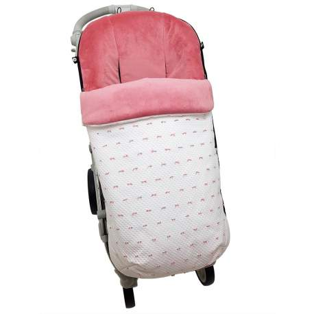 Saco napoles rosa con bordado de plumeti maquillaje y blanco funda en pelo maquillaje