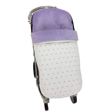Saco napoles crudo con bordado de plumeti lila y morado. Funda en pelo lila