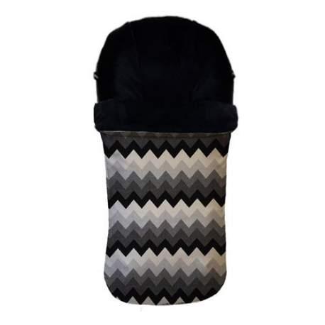 Saco universal jacquard zig zag gris. Funda en punto negro