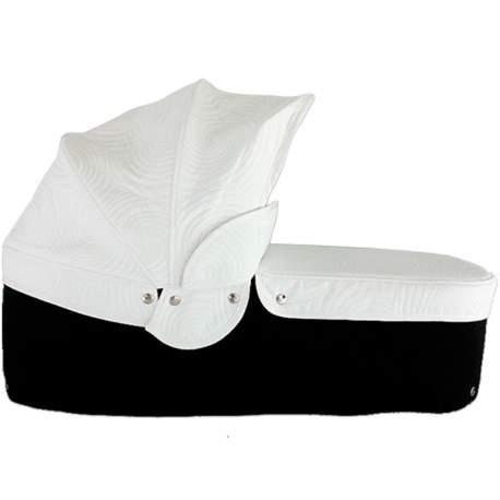 Capazo cuco base negra capota y cubre caracola blanca