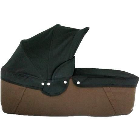 Capazo cuco base chocolate capota y cubre negro
