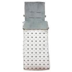 Saco silla gemelar polipiel estampada coronas. Funda e interior del saco en pelo