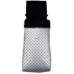 Saco Twin silla gemelar polipiel plata estampada pajaritas negras. Funda e interior del saco en pelo negro