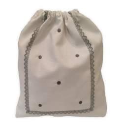 Bolsa Merienda Piqué blanco bodoques y puntilla gris