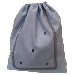 Bolsa Merienda Piqué celeste bodoques y puntilla gris