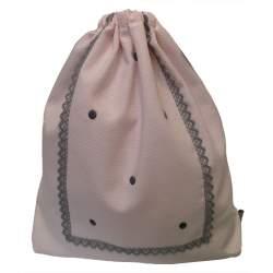 Bolsa Merienda Piqué rosa bodoques y puntilla gris