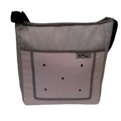 Bolso piqué rosa y gris con bordado de bodoques y puntilla