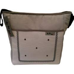 Bolso piqué blanco y gris con bordado de bodoques y puntilla