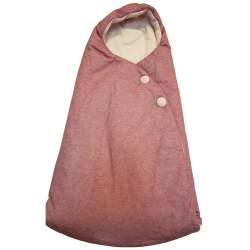 Saco capazo capucha. Punto rosa nude, interior en punto rosa