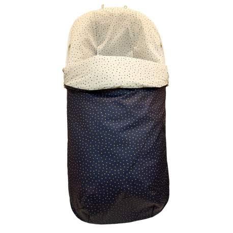 Saco silla tejido estampado circulitos marino. Funda en pique estampado