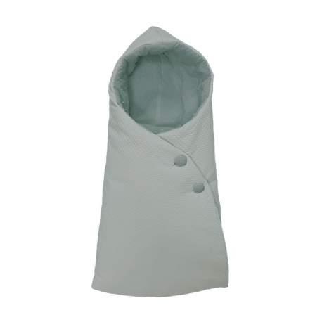 Saco Capazo Capucha. Exterior napoles mint e interior tejido plumeti mint