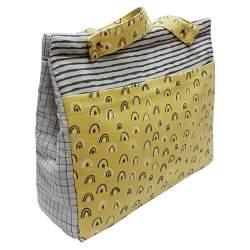 Panera lencera rayas y cuadros gris y bolsillo muselina arcos pistacho