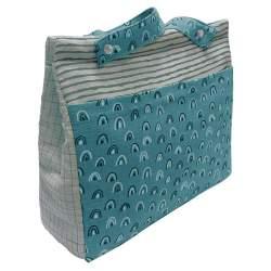 Panera lencera rayas y cuadros azul con bolsillo muselina arcos azul