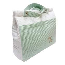 Panera lencera plumeti bicolor y piqué cuadritos verde mint