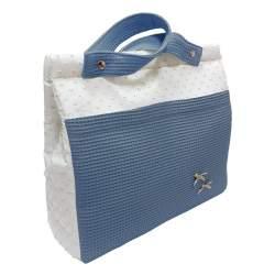 Panera lencera plumeti bicolor y piqué cuadritos azul