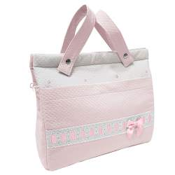 Panera lencera napoles rosa con entredos y bordado de bodoques