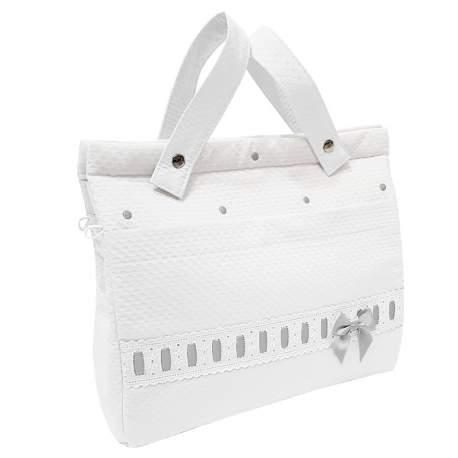 Panera lencera napoles blanco con entredos y bordado de bodoques