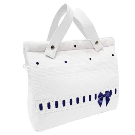 Panera lencera napoles blanco con entredos y bordado de bodoques marino